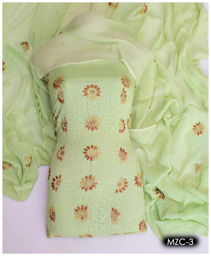 2 PC Un-Stitched Hand Embroidered Chiffon Shadow Pakka Work Shirt and Dupatta - MZC-3