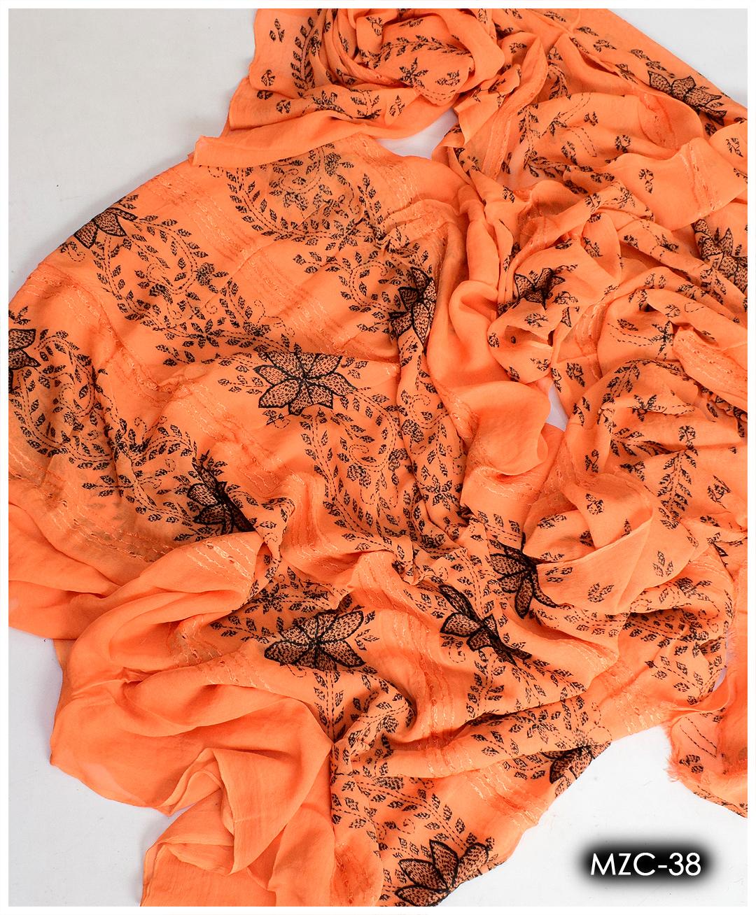 Hand Embroidered Kacha Pakka Taarkashi Work 2 Pc Chiffon Shirt and Dupatta - MZC-38