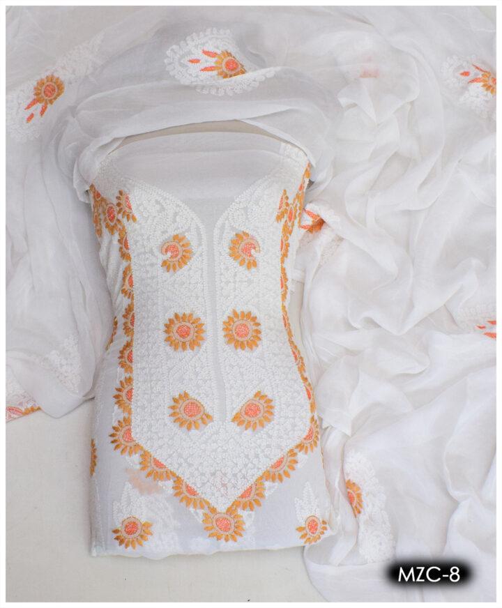 Shadow Pakka 2 PC Chiffon Hand Embroidered Un-Stitched Shirt and Dupatta - MZC-8