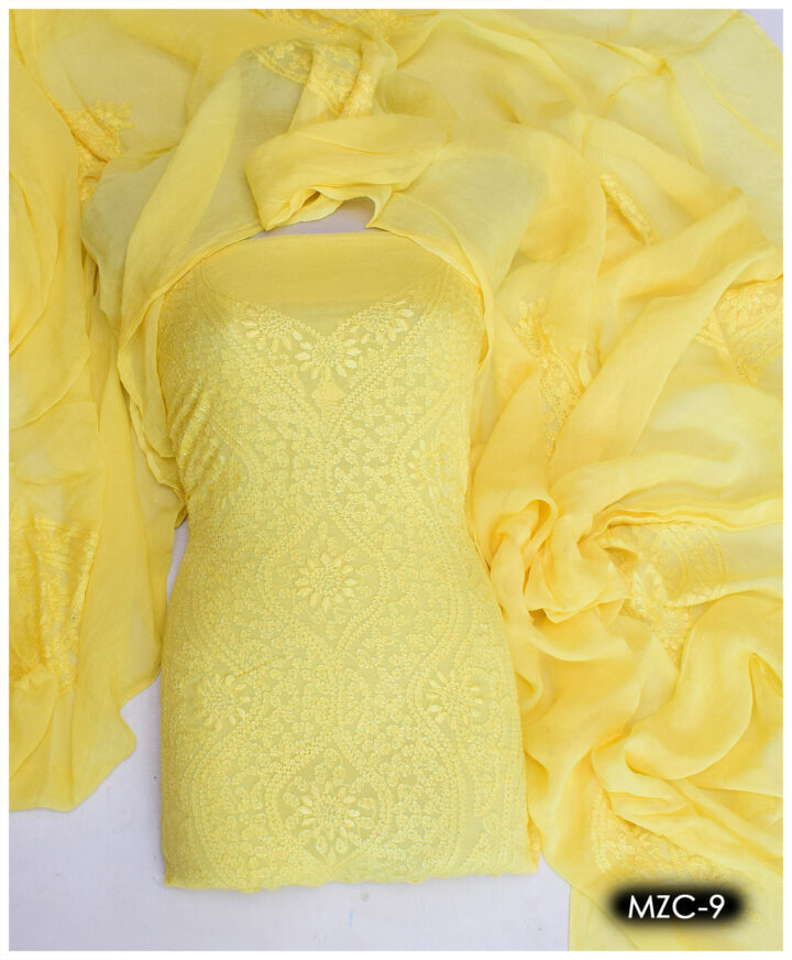 Shadow Pakka Work Hand Embroidered Chiffon Shirt and Dupatta - MZC-9