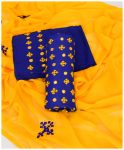 3 PCs Machine Embroidered Cotton Lawn Sindhi Work Blue Yellow Ladies Suits with Chiffon Dupatta - NI1911B