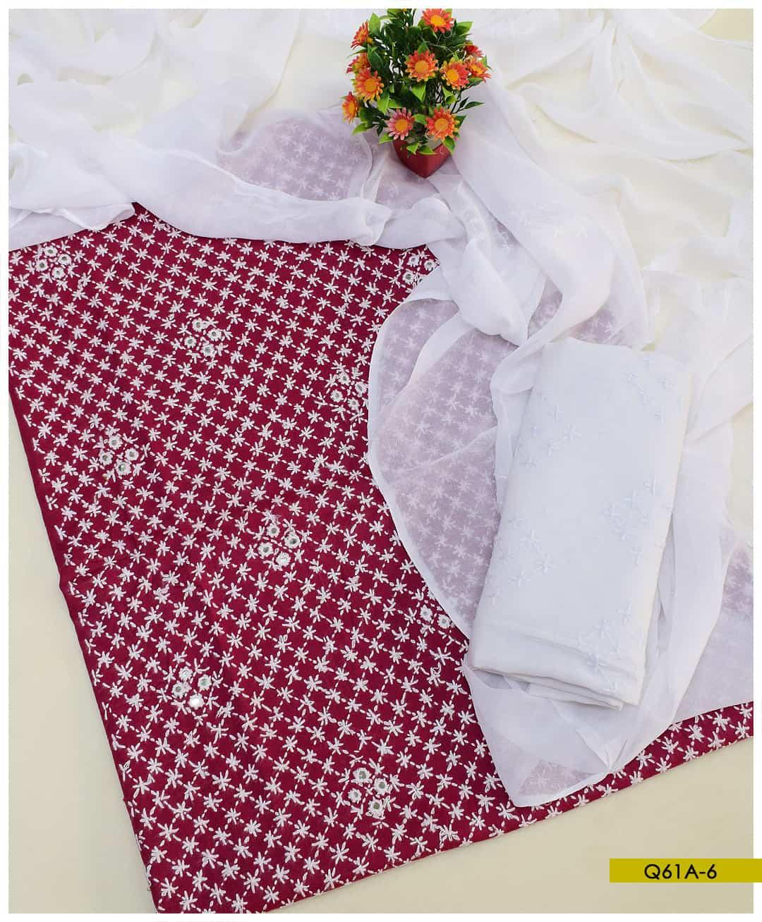 3 PCs Un-Stitched Chawal Sheesha Work Hand Embroidery Suits With Chiffon Dupatta - Q61A6