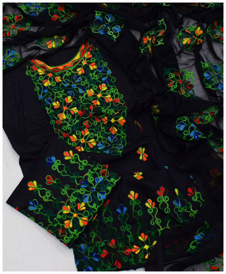 3 PCs Un-Stitched Cotton Lawn Ladies Embroidered Suit With Chiffon Dupatta - SEL-19