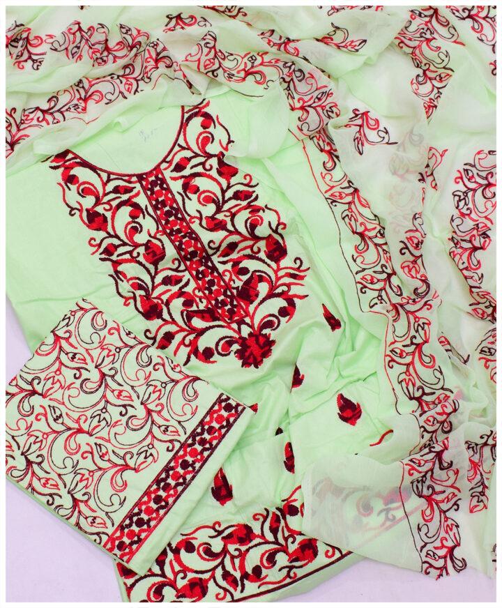 3 PCs Un-Stitched Cotton Lawn Ladies Aari Embroidery Suit With Chiffon Dupatta