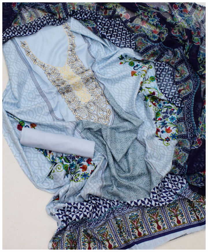 3 PCs Un-Stitched Printed Lawn Embroidery Suit With Chiffon Dupatta - SEL-23