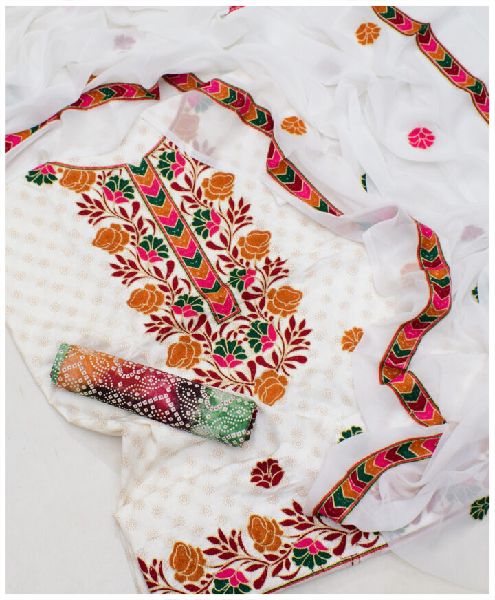 Beautifully Machine Embroidered Printed Cotton Lawn Suit With Chiffon Dupatta - SEL-27