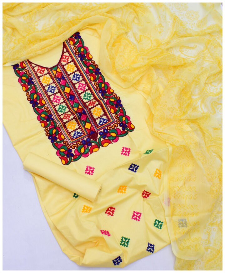Cotton Lawn Embroidered 3 PC Un-Stitched Ladies Suit With Chiffon Dupatta - SEL-29