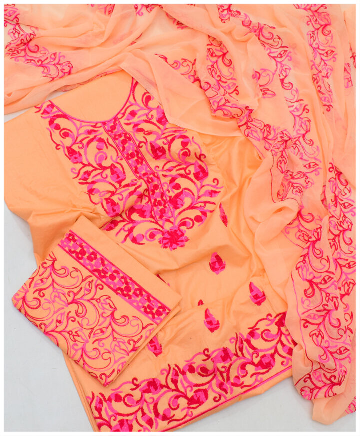 Aari Embroidery Cotton Lawn Un-Stitched 3 PC Ladies Suit With Chiffon Dupatta - SEL-30