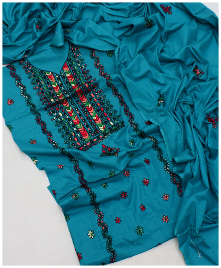 Hand Embroidered Lawn 3 PC Ladies Suit With Lawn Dupatta - SEL-31