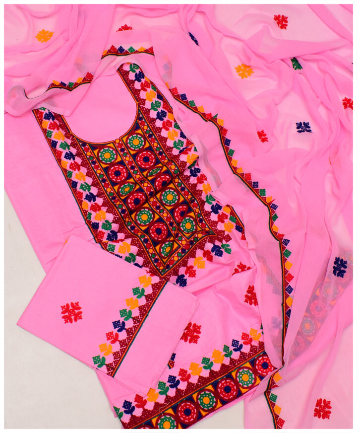 Cotton Lawn Aari Embroidery 3 PC Un-Stitched Ladies Suit With Chiffon Dupatta - SEL-32