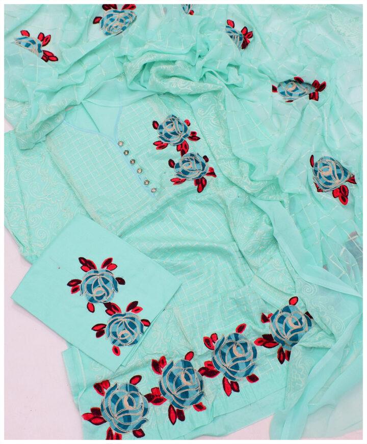 3 PCs Fancy Embroidered Cotton Lawn Semi Stitch Suit With Chiffon Dupatta - SEl-21