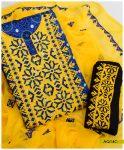 Blue Ajrak Linen 3 PCs Computer Applique Style Embroidery Suits With Chiffon Dupatta - AQ14C
