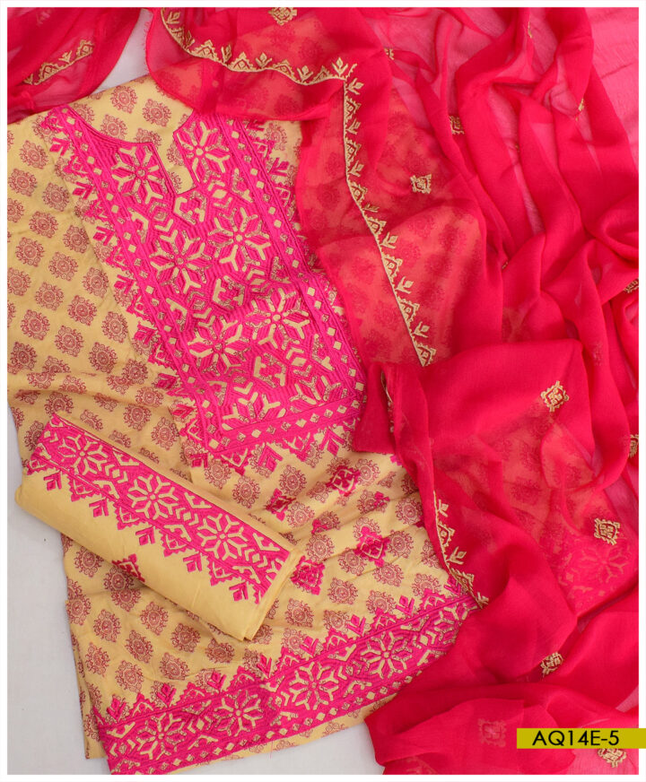Printed Linen Applique Style Machine Embroidery Suits With Chiffon Dupatta - AQ14E