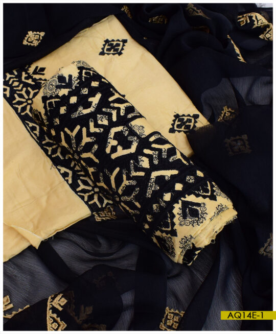 Printed Linen Applique Style Machine Embroidery Suits With Chiffon Dupatta – AQ14E