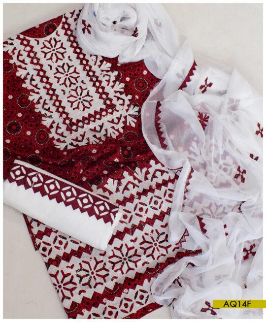 Linen Ajrak Computer Applique Neck Border New Style Embroidery Suits With Chiffon Dupatta - AQ14F