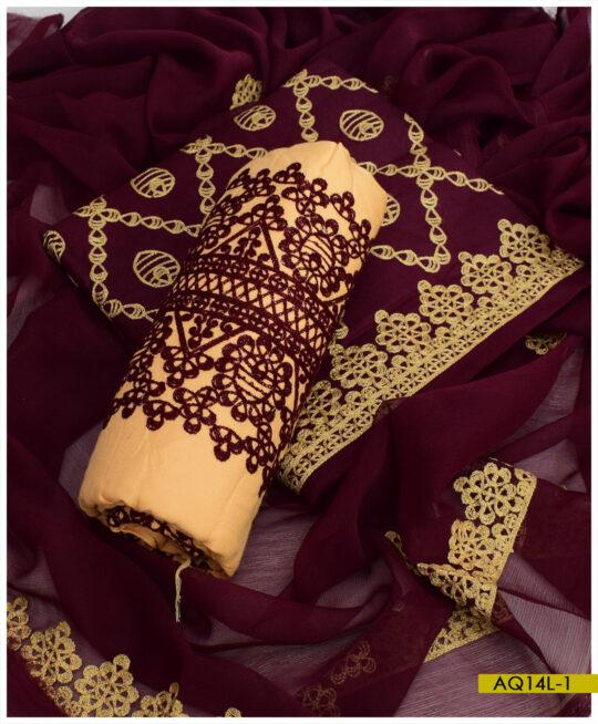 Linen 3 PCs Aari Embroidery Un-Stitched Suits With Chiffon Dupatta – AQ14L6