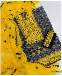 3 PCs Linen Rotri Printed Computer Applique Style Embroidery Suits With Chiffon Dupatta - AQ14M