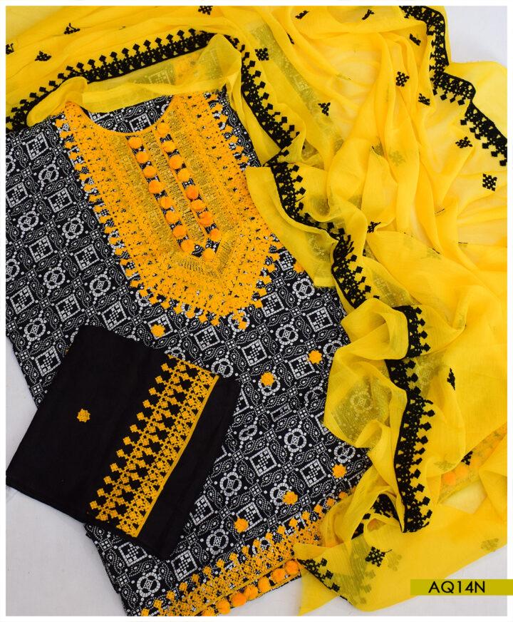 Rotri Printed Linen 3 PCs Machine Embroidery Suits With Chiffon Dupatta - AQ14N