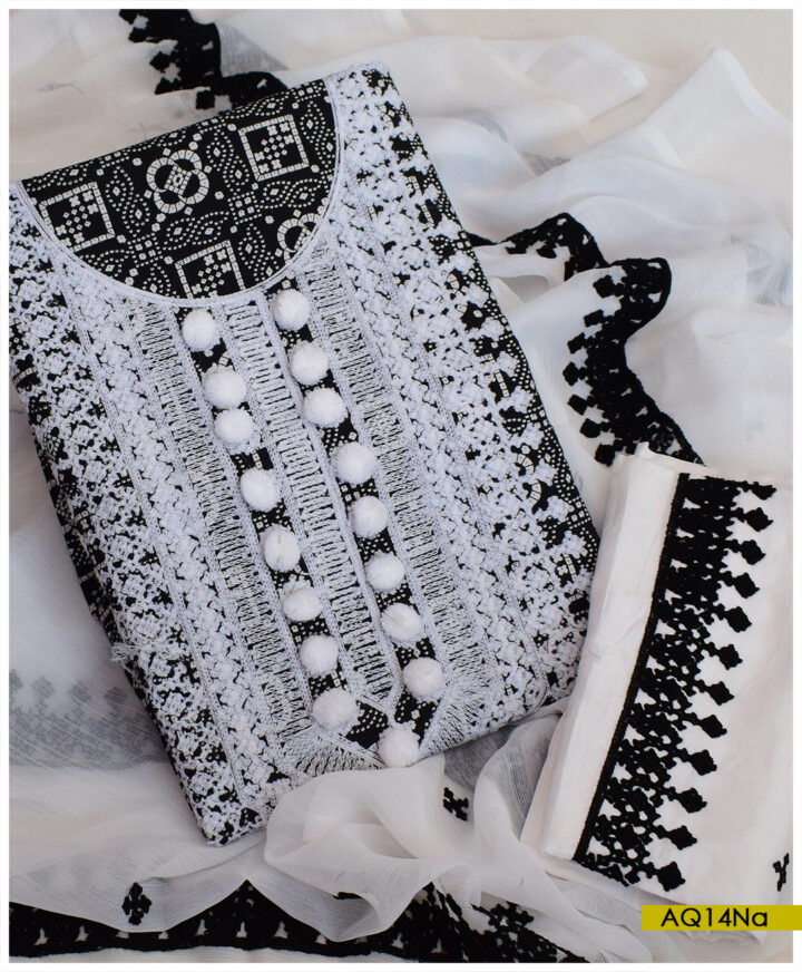 3 PCs Linen Rotri Printed Machine Embroidery Suits With Chiffon Dupatta - AQ14Na