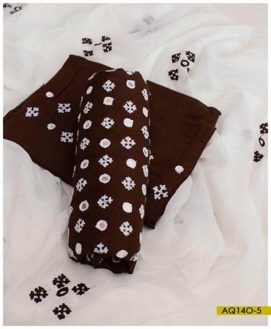 Linen Sindhi Booti Sheesha Machine Embroidery Suits With Chiffon Dupatta – AQ14O