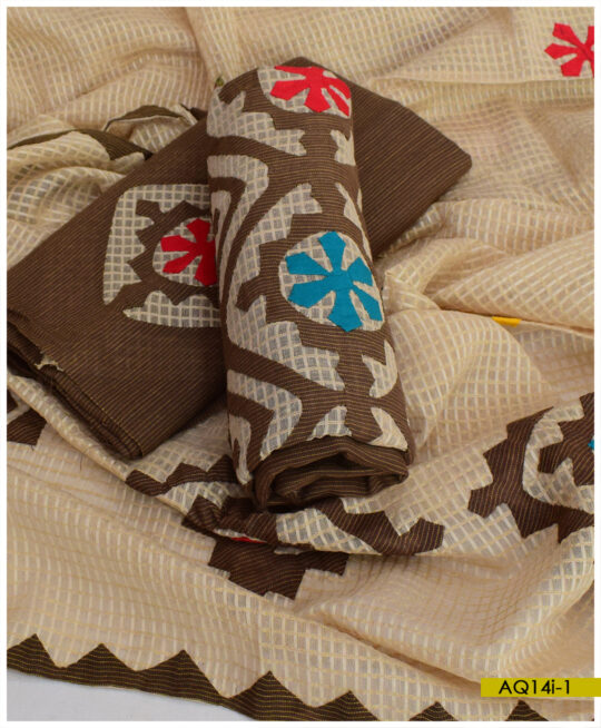 Khadi Cotton Applique Work 3 PCs #Handmade Suits with Cotton Net Dupatta – AQ14I