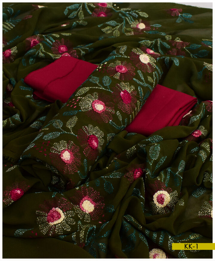 Indian Chiffon Chaar Mom Hand Embroidered Kachaboor Work 3 PCs Un-Stitched Ladies Suits - KK109A