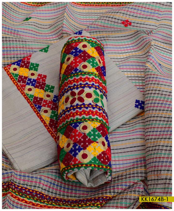 Khaddar 3 PCs Un-Stitched Embroidered Suits - KK1674B