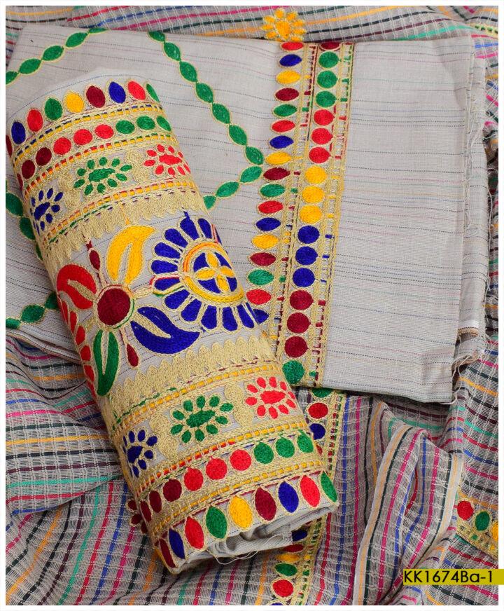 Khaddar 3 PCs Un-Stitched Embroidered Ladies Suits - KK1674Ba