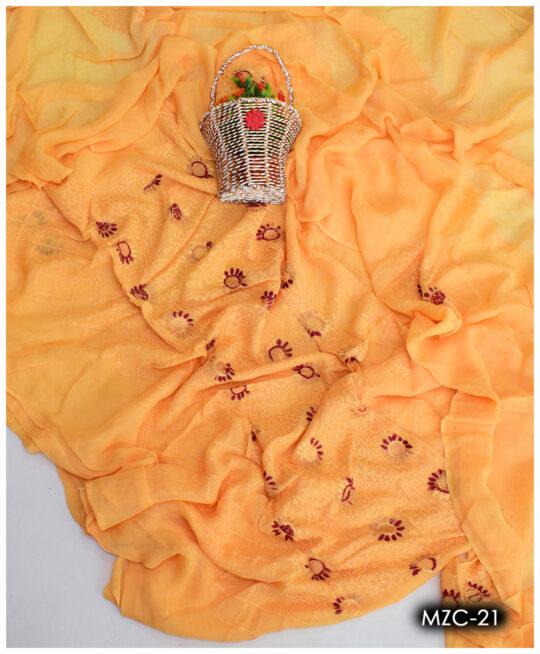 2 PCs Hand Embroidery Multani Chiffon Suits, Shirt & Dupatta – MZC-21