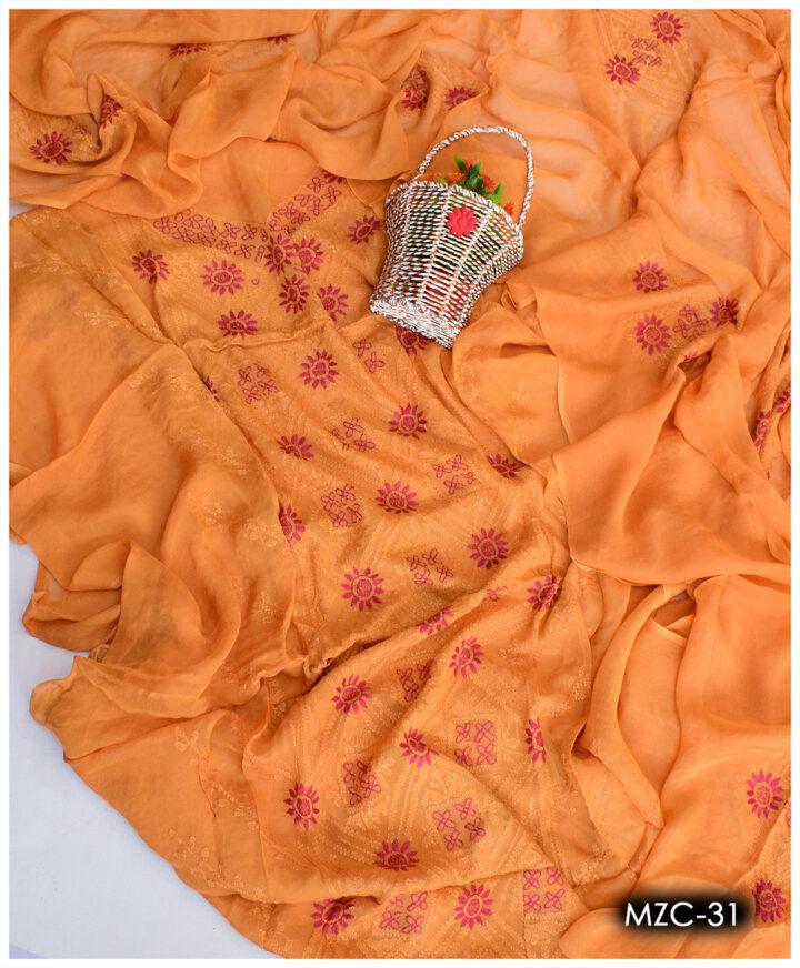 Ladies Chiffon Hand Embroidered 2 PCs Un-Stitched Shirt and Dupatta - MZC-31