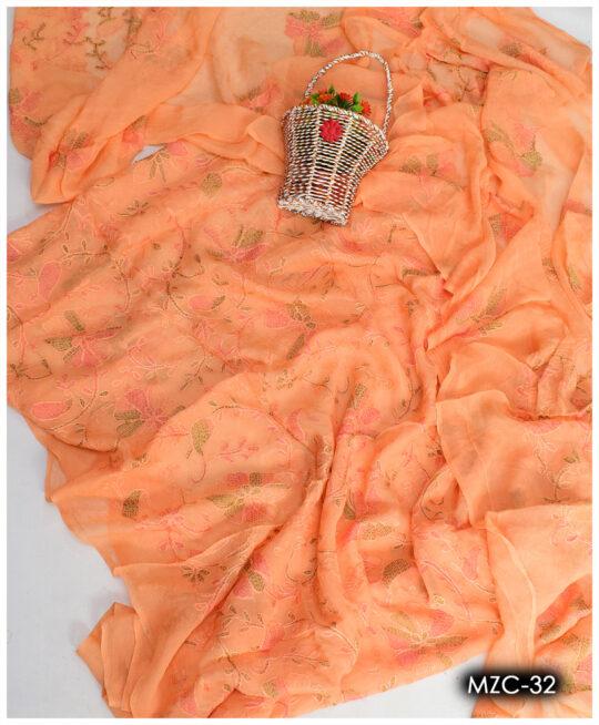 Beautifully Hand Embroidered Chiffon Shirt and Dupatta - MZC-32