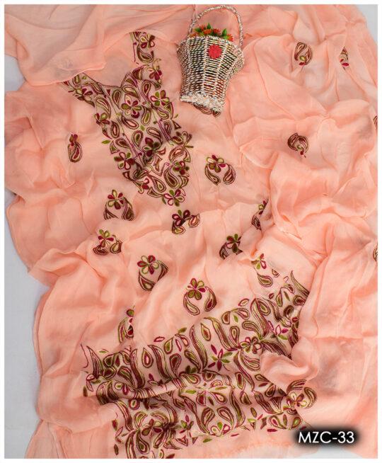 Chiffon Aari Embroidery Un-Stitched Ladies Shirt and Dupatta – MZC-33