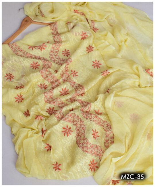 Chiffon 2 PCs Hand Embroidery Un-Stitched Shirt and Dupatta – MZC-35