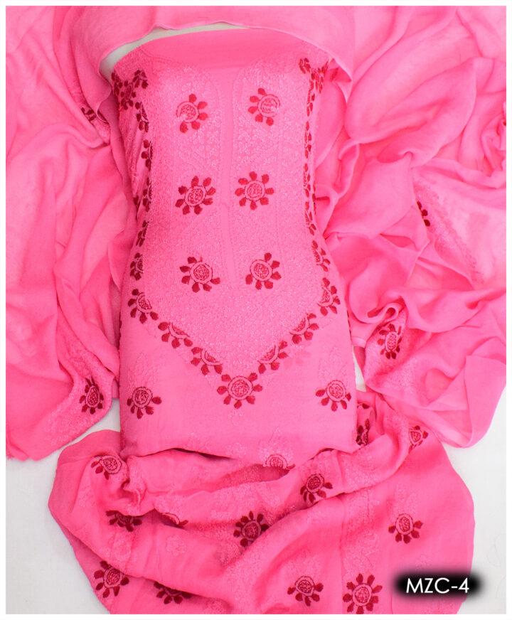 2 PCs Chiffon Hand Embroidery Shirt and Dupatta - MZC-4