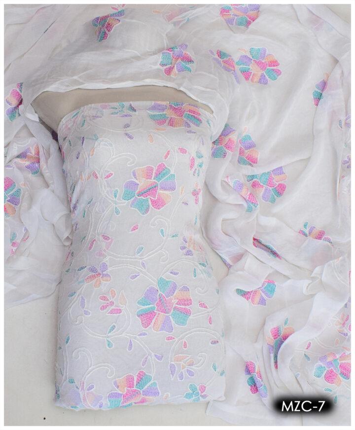 2 PCs Chiffon Aar Kacha Jaal Hand Embroidery Shirt and Dupatta – MZC-7