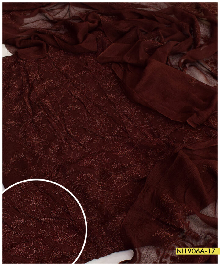 Bamber Chiffon 2 PCs Hand Embroidery Shadow Chikankaari Work Suits