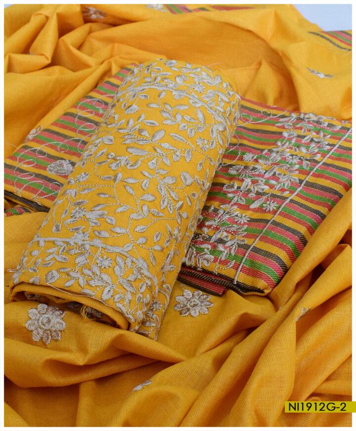 Cotton Khaddar 3 PCs Un-Stitched Bareeze Jaal Embroidery Ladies Suits - NI1912G