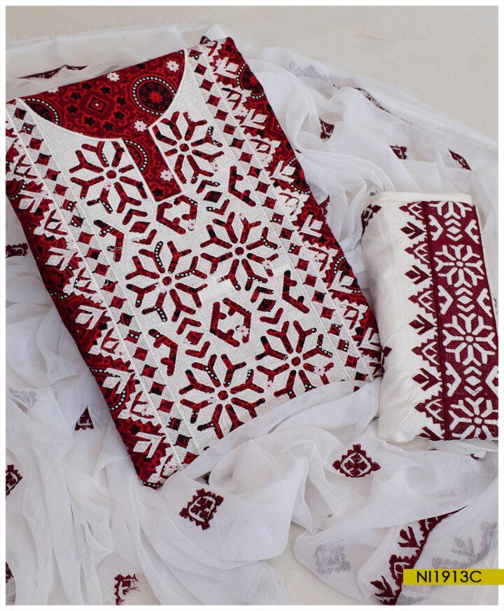 3 PCs Linen Ajrak Computer Applique Style Embroidery Un-Stitched Ladies Suits With Chiffon Dupatta - NI1913C