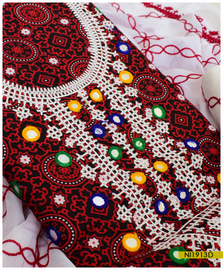 Linen 3 PCs Ajrak Un-Stitched Sindhi Embroidery Suits With Chiffon Dupatta - NI1913D