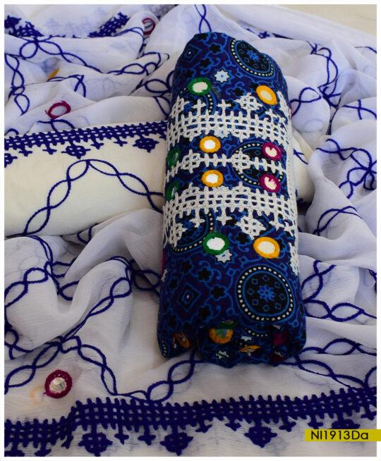 Blue Ajrak 3 PCs Linen Un-Stitched Sindhi Embroidery Suits With Chiffon Dupatta – NI1913Da