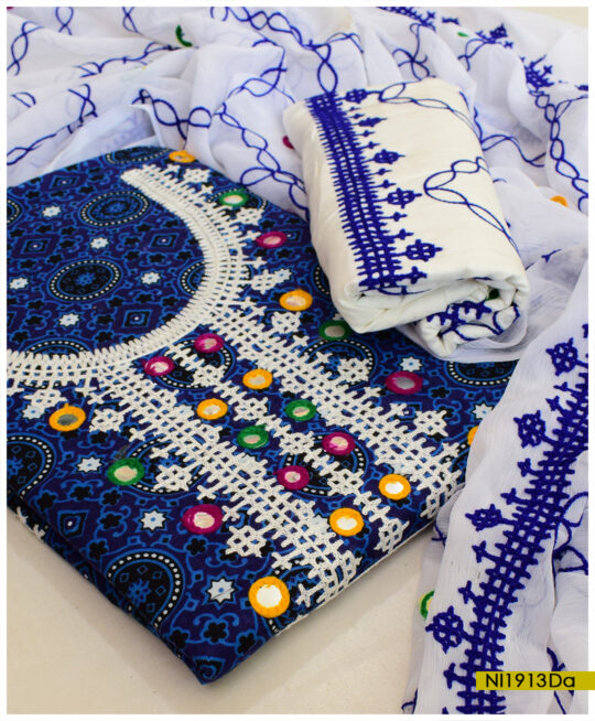 Blue Ajrak 3 PCs Linen Un-Stitched Sindhi Embroidery Suits With Chiffon Dupatta - NI1913Da