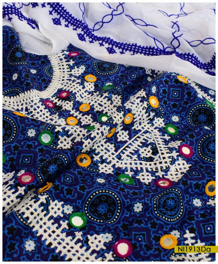 Blue Ajrak 3 PCs Linen Un-Stitched Sindhi Embroidery Suits With Chiffon Dupatta - NI1913Da