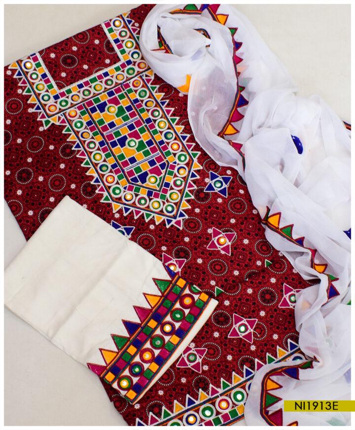 Linen 3 PC Machine Embroidery Ajrak Suit With Chiffon Dupatta - NI1913E