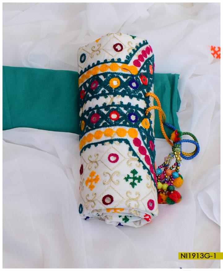3 Pcs Embroidered Linen Ladies Un-Stitched Suit With Chiffon Dupatta - NI1913G1