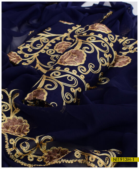Machine Embroidered Linen 3 PCs Un-Stitched Suits With Chiffon Dupatta – NI1913H