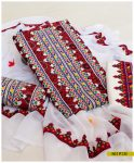3 PCs Ajrak Linen Aari Embroidery Un-Stitched Suits With Chiffon Dupatta - NI1913I