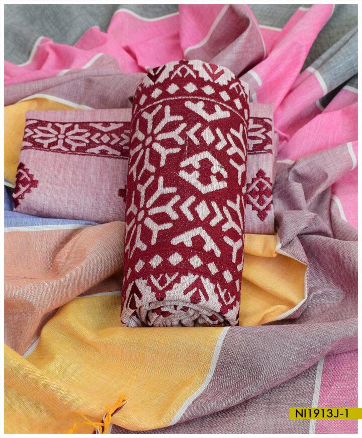 Ladies Khaddar 3 PCs Applique Style Machine Embroidered Un-Stitched Suits - NI1913J