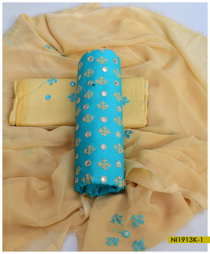 Un-Stitched Linen Machine Embroidered Sindhi Booti Work Suits With Chiffon Dupatta - NI1913K