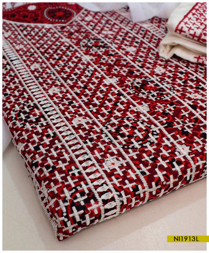 3 PCs Linen Ajrak Balochi Embroidery Suits With Chiffon Dupatta - NI1913L