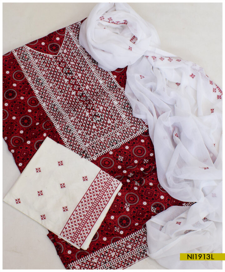 3 PCs Linen Ajrak Balochi Embroidery Suits With Chiffon Dupatta - NI1913L